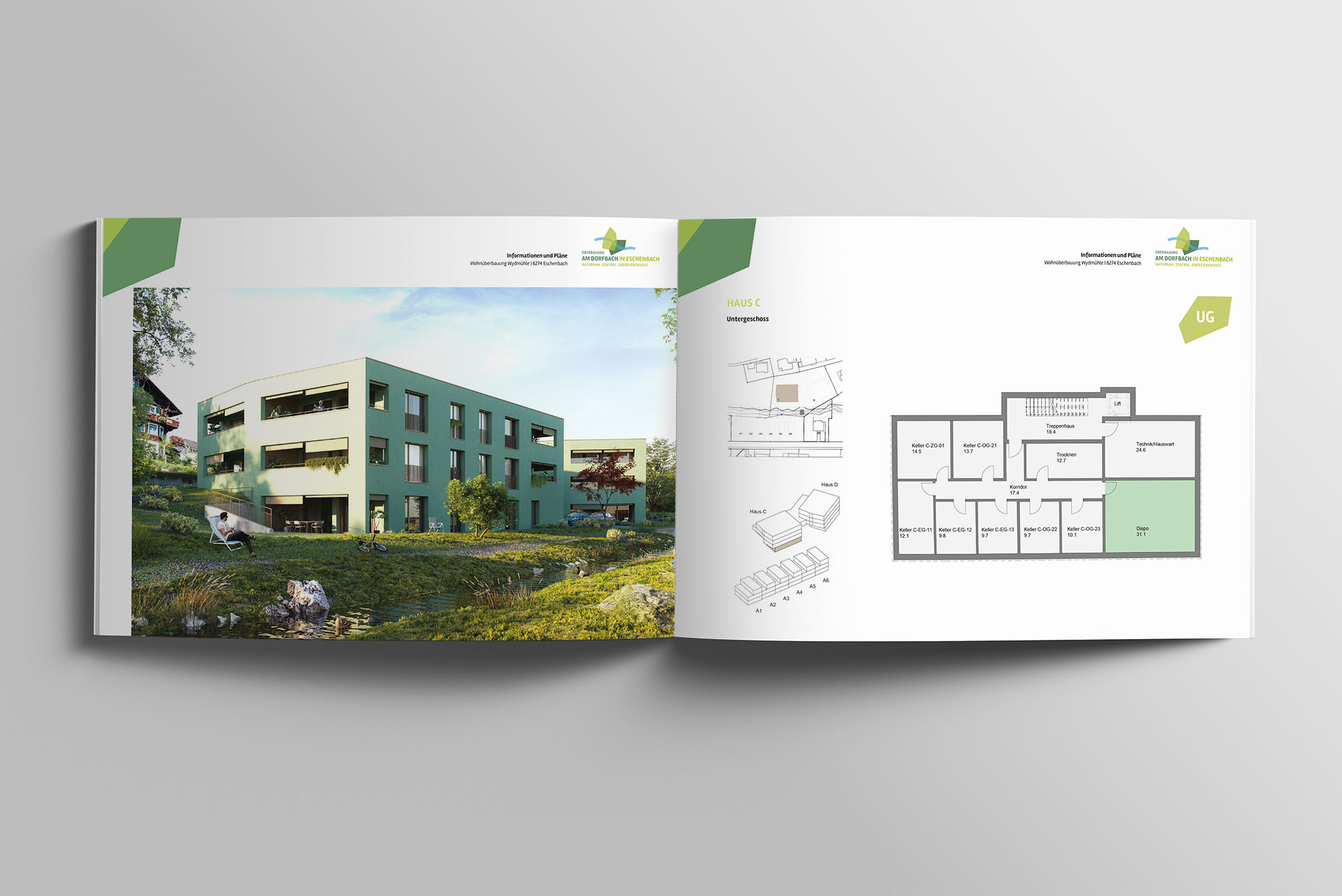 Portfolio   Broschüre Wohnen am Dorfbach