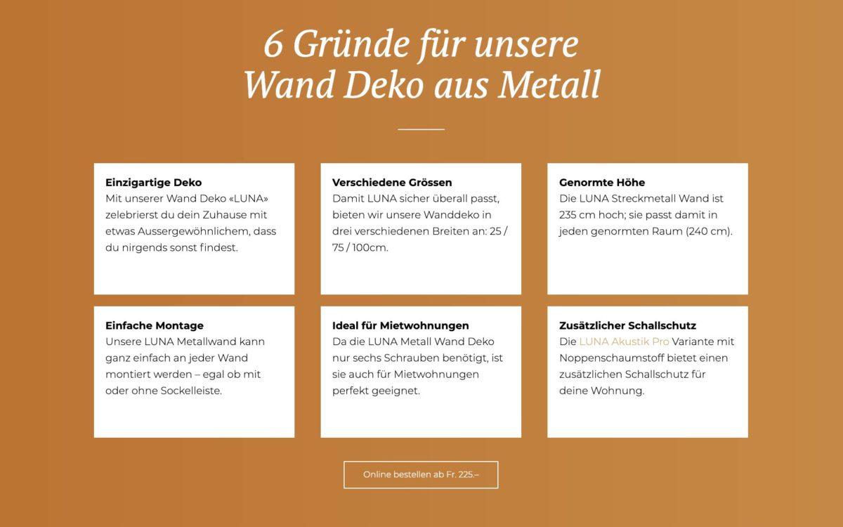 Wand Metall Deko Portfolio conseo
