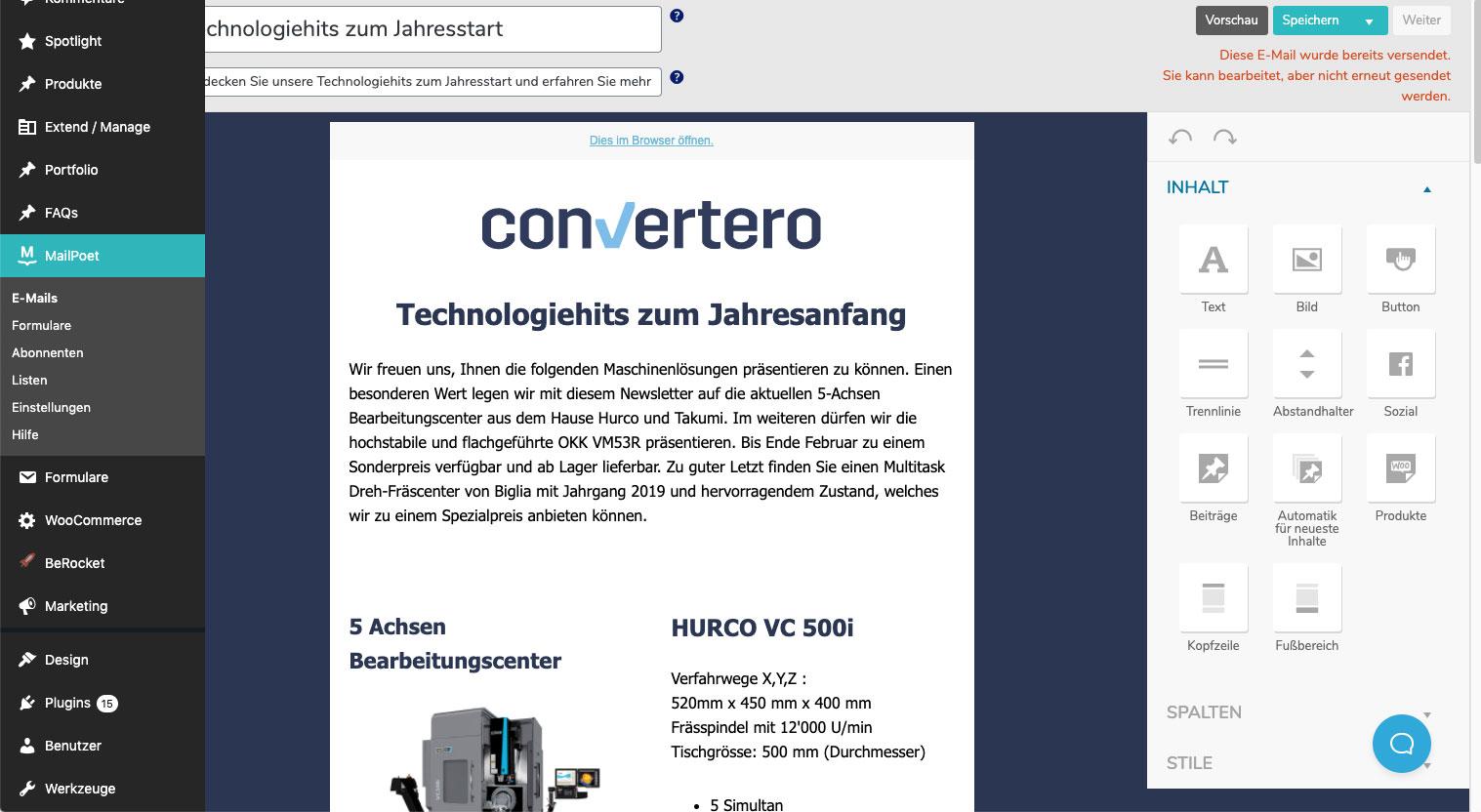 Mailpoet Newsletter Tool